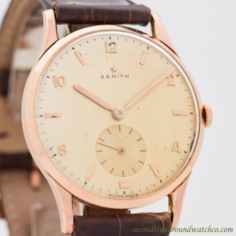 A. Men's Vintage  Zenith  18k Rose Gold