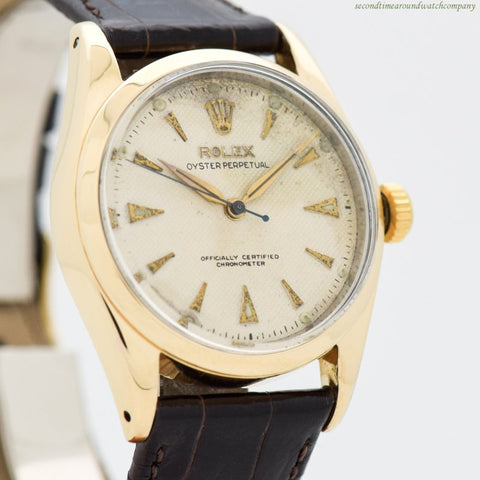 1953 Vintage Rolex Oyster Perpetual Ref. 6334 18k Yellow Gold Shell Over Stainless Steel Watch