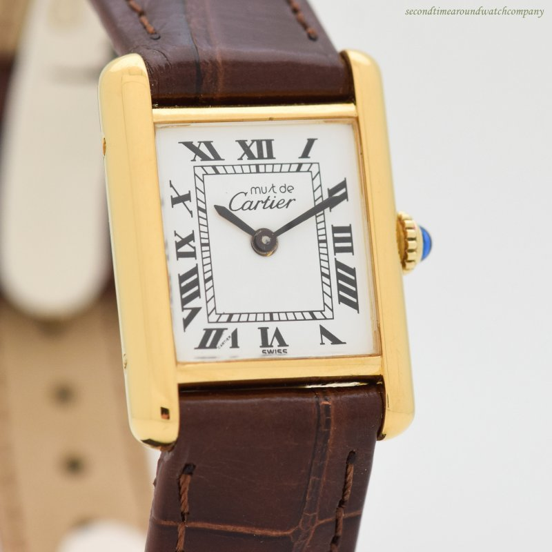 1990's era Cartier Tank Must De Ladies Sized 18k Yellow Gold Plated Watch