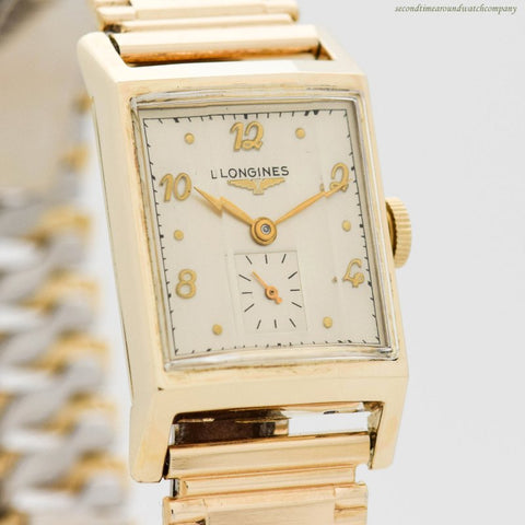 1950 Vintage Longines Rectangular-shaped 10k Yellow Gold Filled Watch
