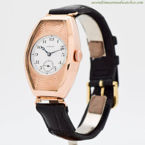 1920's Vintage Zenith Tonneau-shaped 18k Rose Gold Watch
