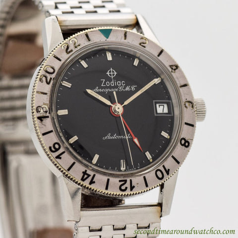 1966 Vintage Zodiac Aerospace GMT Ref. 752-925 Stainless Steel Watch