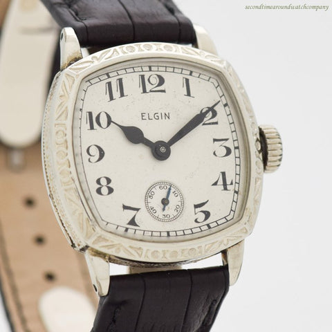1929 Vintage Elgin Cushion-shaped 14k Yellow Gold Filled Watch