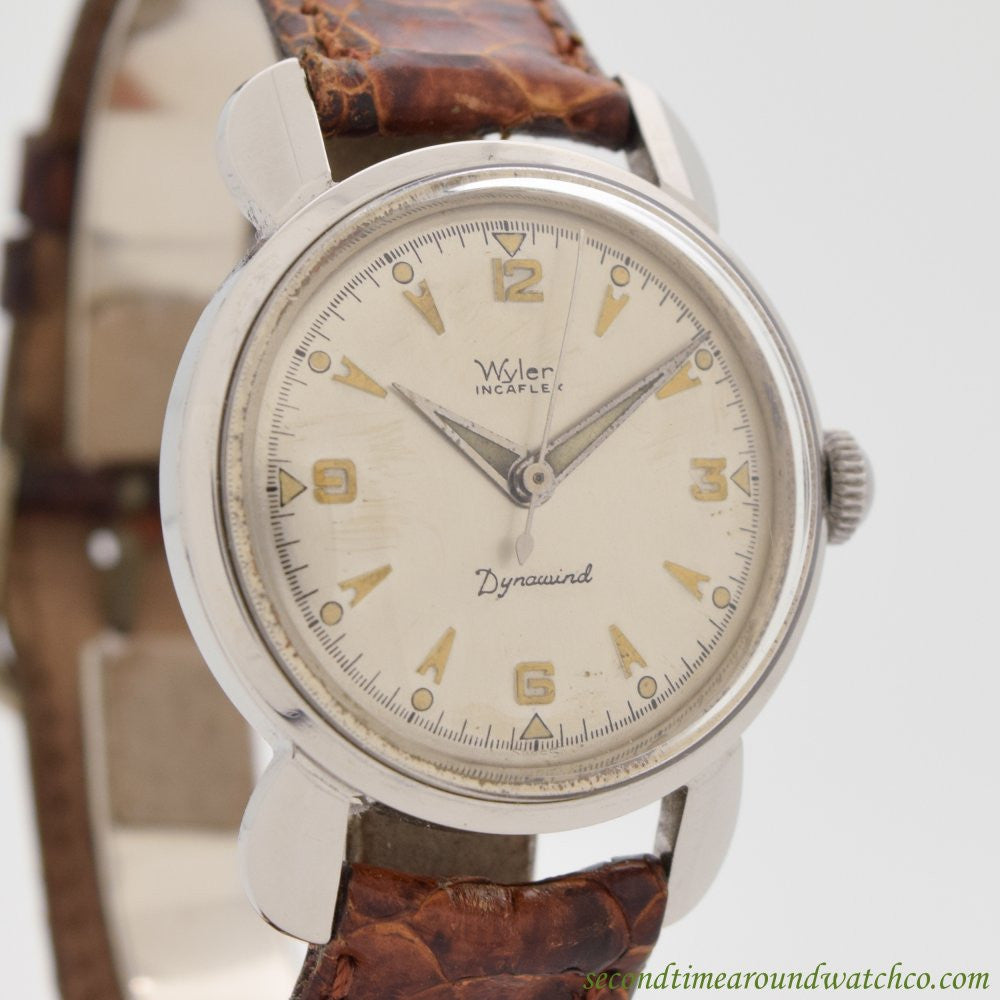 1960's Vintage Wyler Dynawind Incaflex Stainless Steel Watch
