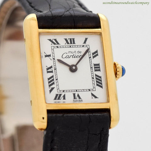 1980's Cartier Must De Tank Ladies Size 18k Yellow Gold Plated Watch