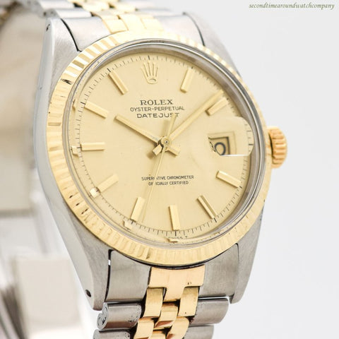 1967 Vintage Rolex Datejust Reference 1601 14k Yellow Gold & Stainless Steel Watch