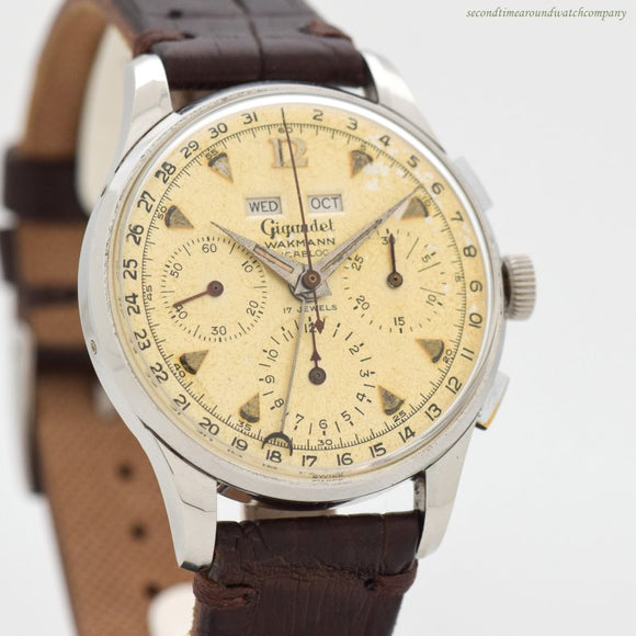 1950's-60's Vintage Wakmann Triple Date 3-Register Chronograph Stainless Steel Watch (# 12760)
