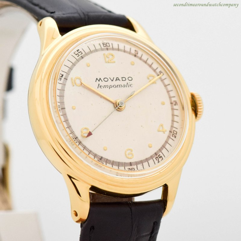 1940's Vintage Movado Tempomatic 10k Yellow Gold Plated & Stainless Steel Watch