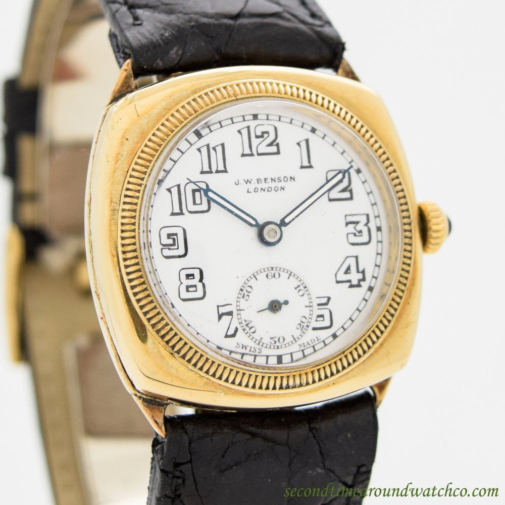1920's Vintage J.W. Benson 18k Yellow Gold Watch