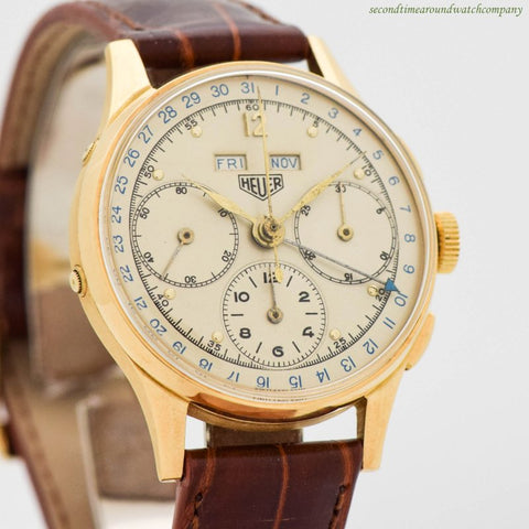 1940s Vintage Heuer Triple Date 3-register Chronograph 18k Yellow Gold Watch