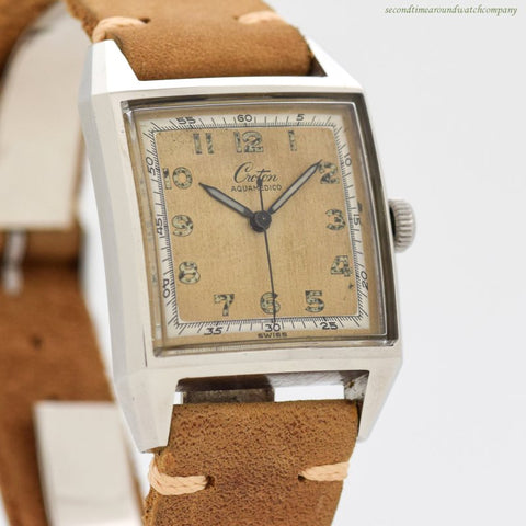 1960's era Croton Aquamedico Square-shaped Base Metal & Stainless Steel Watch