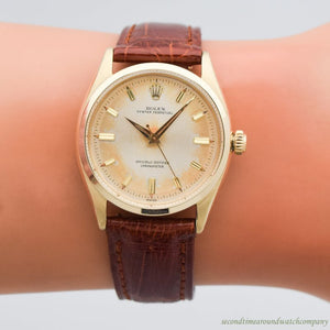 1955 Vintage Rolex Oyster Perpetual Reference 6564 14k Yellow Gold Watch