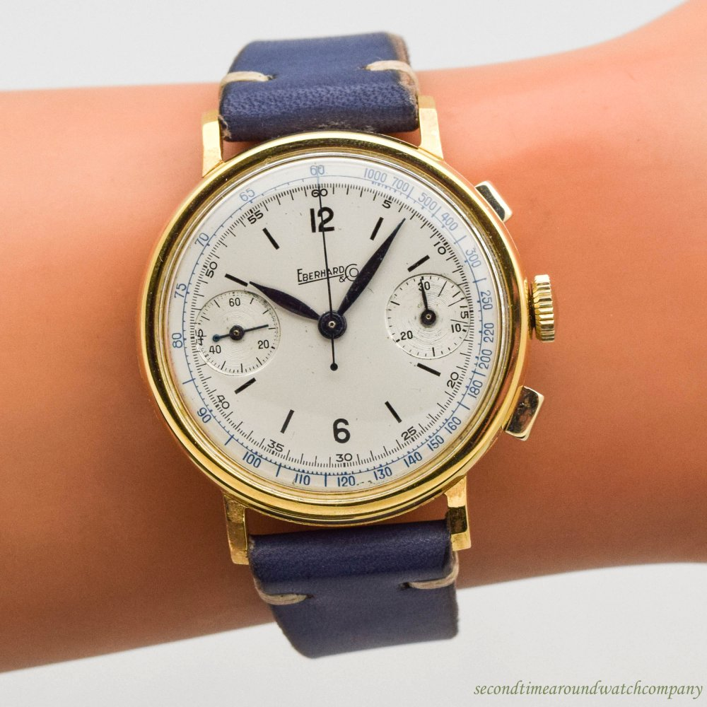 1940's Vintage Eberhard & Co 2-Register Chronograph 10k Yellow Gold Plated Watch