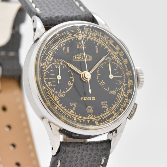 1950's Vintage Angelus 2-Register Stainless Steel Chronograph Watch