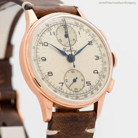 1946 Vintage Breitling 2-Register Chronograph Reference 175 18k Rose Gold Watch