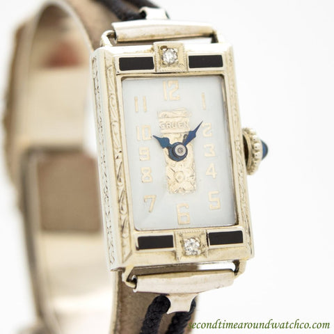 1930's Vintage Gruen Ladies 14k White Gold, Onyx, & Diamonds Watch