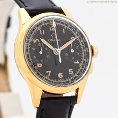 1950's Vintage Omega 2-Register Chronograph 14k Yellow Gold Plated & Stainless Steel
