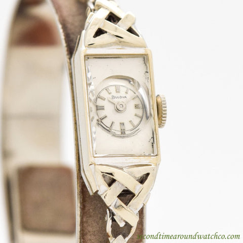 1960's Vintage Bulova Ladies 14k White Gold Watch