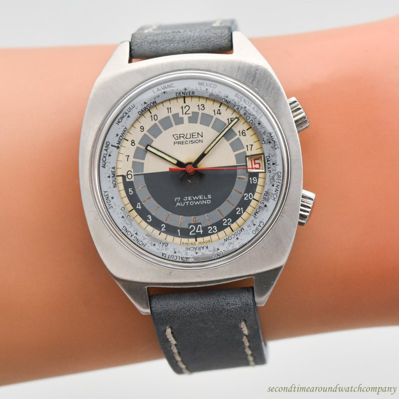 1970's Vintage Gruen 24-Hour World Time Stainless Steel Watch
