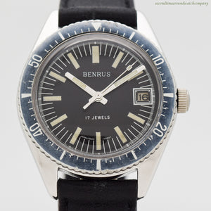 1970's Vintage Benrus Divers Base Metal & Stainless Steel Watch