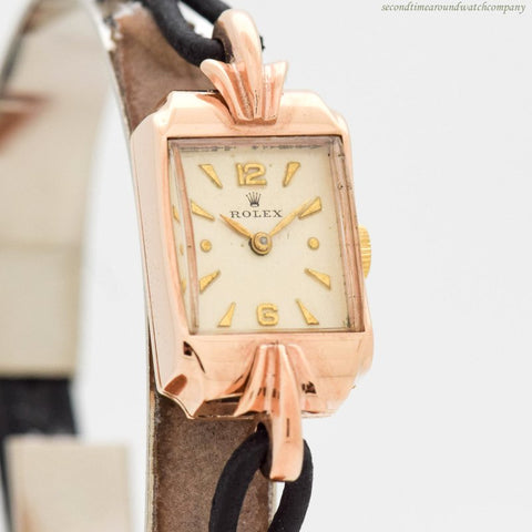 1940's Vintage Rolex Ladies 9k Rose Gold Watch