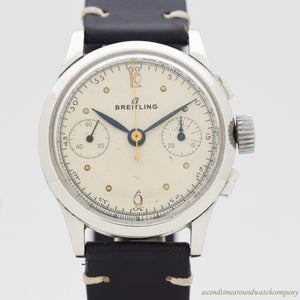 1956 Vintage Breitling 2-Register Chronograph Chrome Watch