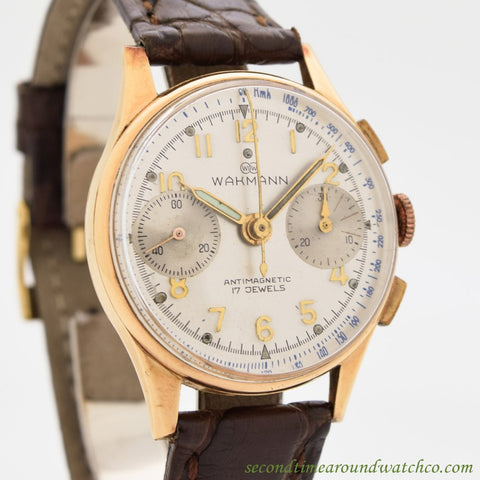 1940's Vintage Wakmann 2 Register Chronograph 18k Rose Gold Watch