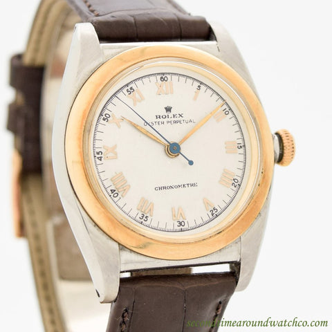 1948 Vintage Rolex Bubbleback Ref. 3133 14k Rose Gold & Stainless Steel Watch