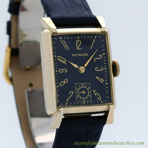 1940's Vintage Wittnauer Rectangular-shaped 10k Yellow Gold Filled Watch
