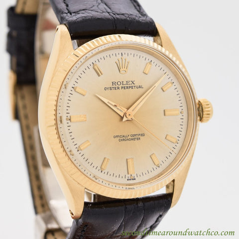 1955 Vintage Rolex Oyster Perpetual Ref. 6567 18k Yellow Gold Watch