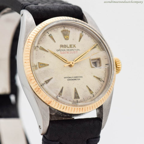 1953 Vintage Rolex Datejust Ref. 6305 14k Yellow Gold & Stainless Steel Watch