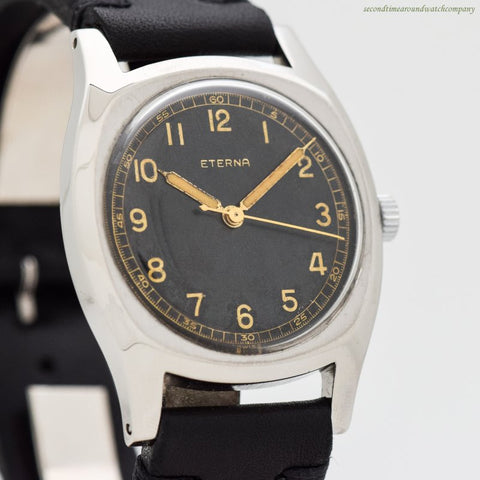 1930's-40's era Eterna Majetek Czech Air Military Stainless Steel Watch