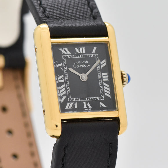 1990's era Cartier Tank Must De Ladies Sized 18k Yellow Gold Plated Watch (# 13428)