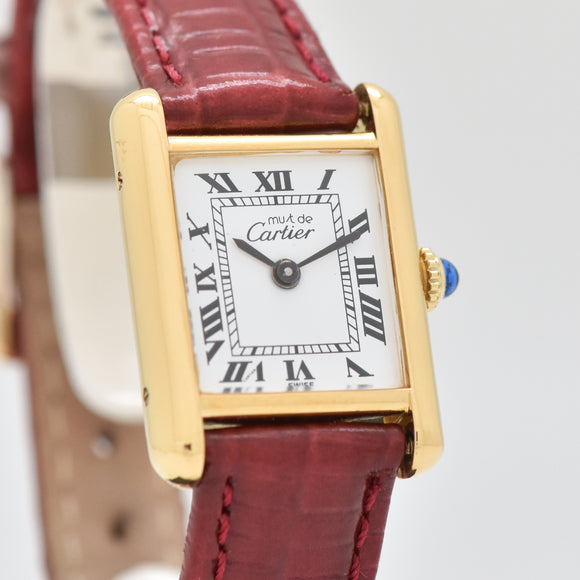 1990's era Cartier Tank Must De Ladies 18k Yellow Gold Plated Watch