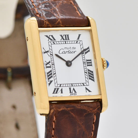 1990's Cartier Tank Must De Ladies 18k Yellow Gold Plated Watch