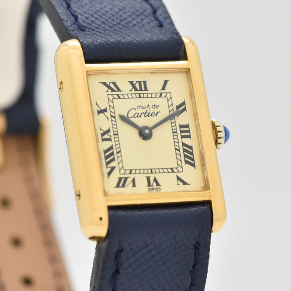 1990's era Cartier Tank Must De Ladies Sized 18k Yellow Gold Plated Watch (# 13426)
