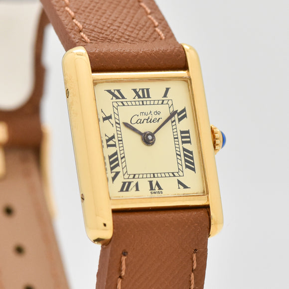 1990's era Cartier Tank Must De Ladies Sized 18k Yellow Gold Plated Watch (# 13430)
