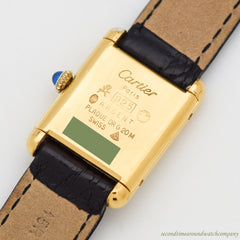 1980's era Cartier Tank Must De Ladies Sized 18k Yellow Gold Plated Watch