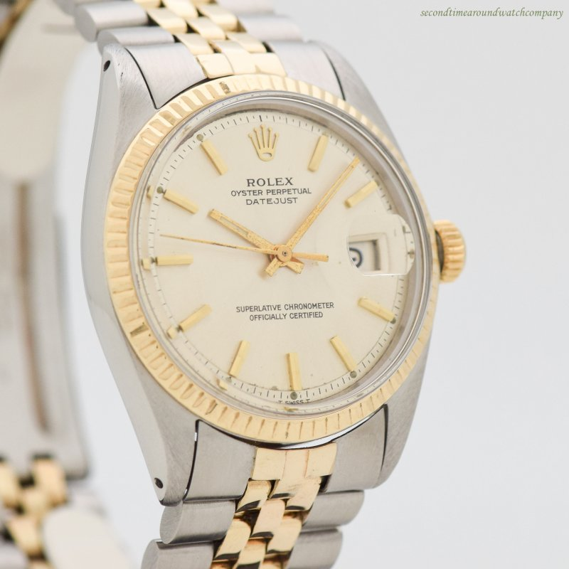 1968 Vintage Rolex Datejust Ref. 1601 14k Yellow Gold & Stainless Steel Watch