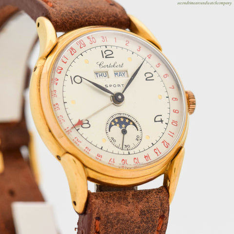 1940's Vintage Cortebert Triple Date Moonphase Chrono Ref. 9300 Yellow Gold Plated & Stainless Steel Watch