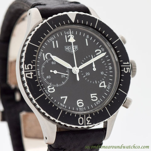 1960's Vintage Heuer Bundeswehr Chrono Ref. 1550-SG Stainless Steel Watch