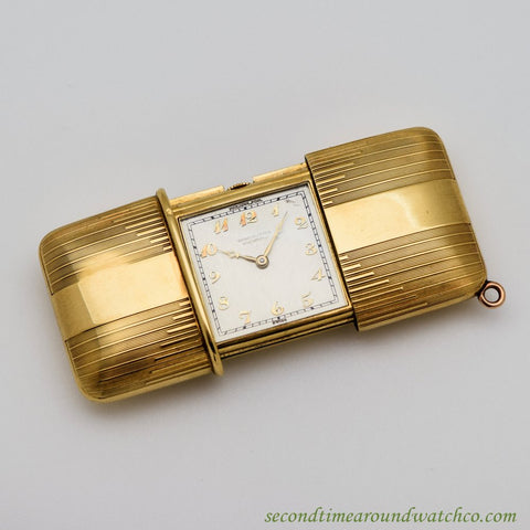 1940's Vintage Movado Ermeto 18k Yellow Gold Purse Watch