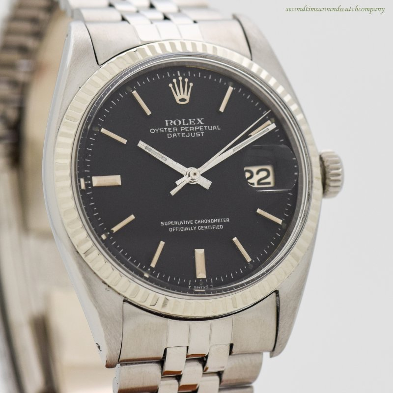 1957 Vintage Rolex Datejust Ref. 1601 14k White Gold & Stainless Steel Watch