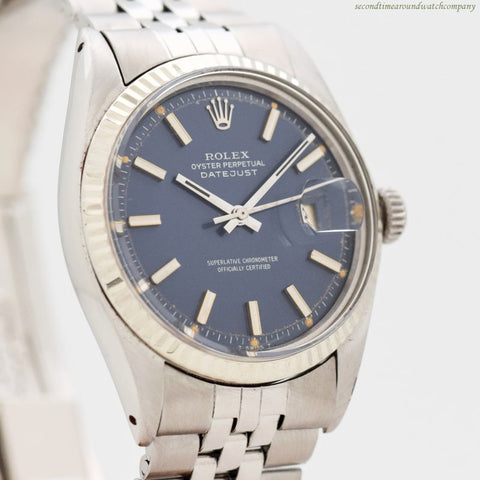 1971 Vintage Rolex Datejust Ref. 1601 14k White Gold & Stainless Steel Watch