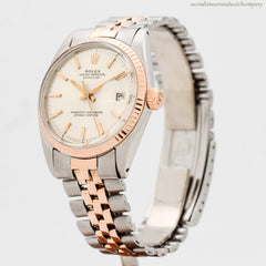 1967 Vintage Rolex Datejust Ref. 1601 14k Rose Gold & Stainless Steel Watch