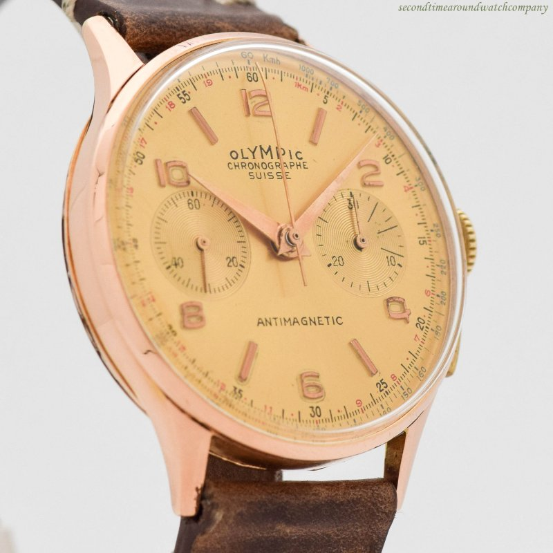 1940's era Olympic 2-Register Chronograph 18k Rose Gold Watch