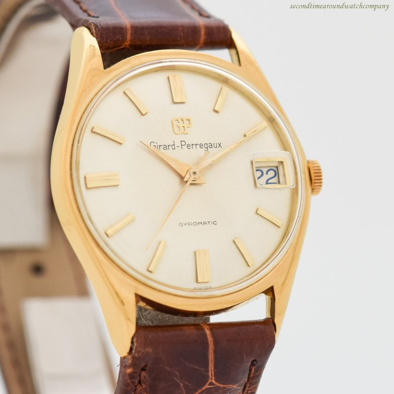 1970's Vintage Girard Perregaux Gyromatic 18k Yellow Gold Plated With Stainless Steel  Watch
