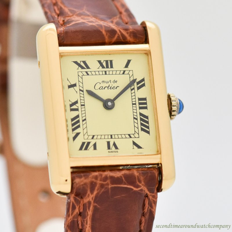 1990's Cartier Tank Must De Ladies Sized 18k Yellow Gold Plated Watch