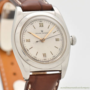 1940 Vintage Rolex Bubbleback Reference 3135 Stainless Steel Watch