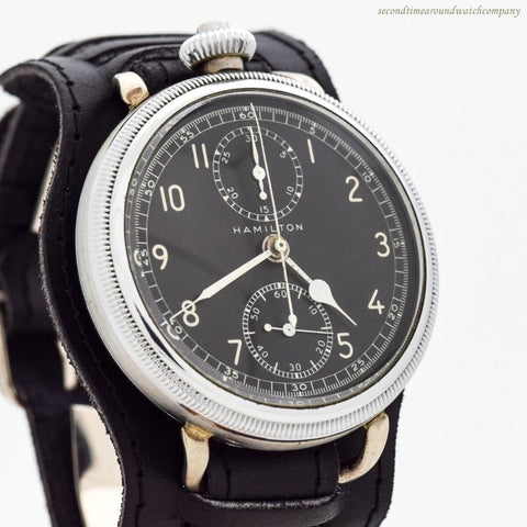 1942 Vintage Hamilton WWII-era Military Air Force Chronograph Pocket Watch Conversion
